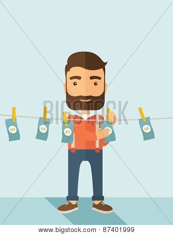 A businessman with beard standing hanging his money has a financial problem. He enter into money laundering business. Bankruptcy concept.  A contemporary style with pastel palette soft blue tinted