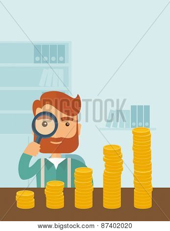 A hipster Caucasian businessman with beard looking his growing business in financial crisis concept. Economy and money, coin and success. When others falls, we rise up. A contemporary style with