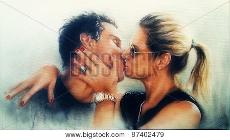 Passionate Valentine Love Kiss Of A Young Romantic Couple