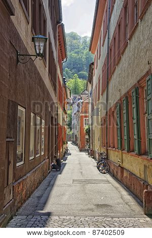 Narrow Sunny Street In Heidelberg