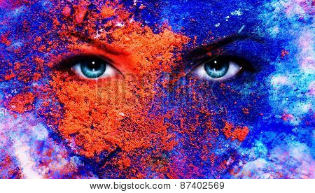 A Pair Of Beautiful Blue Women Eyes Beaming, Color Earth Effect, Painting Collage, Violet Makeu