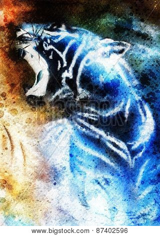 Painting Abstract Tiger Collage On Color Space Background, Wildlife Animals