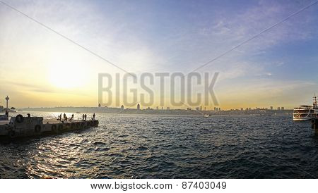 Sunset Over Bosphorus Strait In Istanbul
