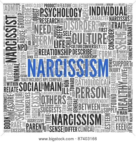 Close up Blue NARCISSISM Text at the Center of Word Tag Cloud on White Background.