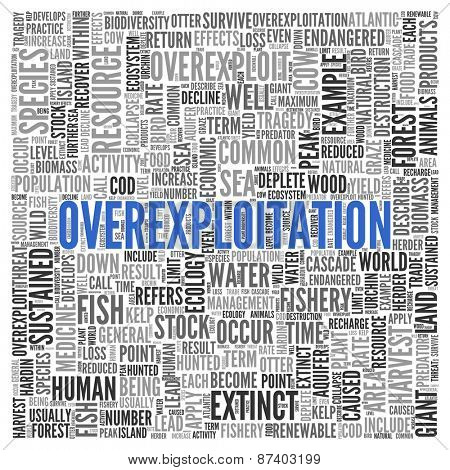 Close up Blue OVEREXPLOITATION Text at the Center of Word Tag Cloud on White Background.