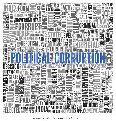 Close up Blue POLITICAL CORRUPTION Text at the Center of Word Tag Cloud on White Background.