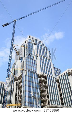 MOSCOW - MAY 31, 2014: Construction of a multifunctional complex Oruzhejnyj. It is business center class A plus, located in the heart of Moscow