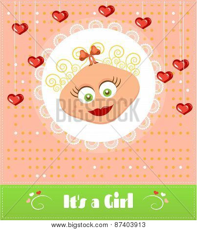 Romantic, baby shower card with text Its a girl, smiling, cute girl with blond, curly hair, hanging