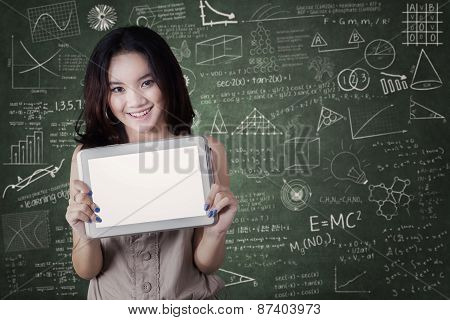 Female Student Shows Blank Tablet Screen