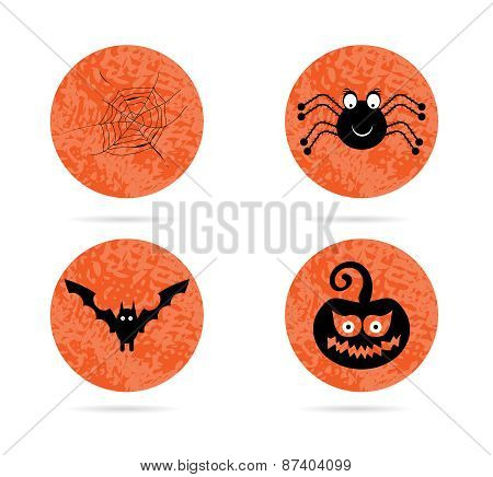 Set, collection, group of four, orange, halloween, round, isolated, flat, buttons, icons, signs, lab