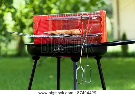 Sausages On Charcoal Grill