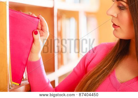 Girl Student In College Library