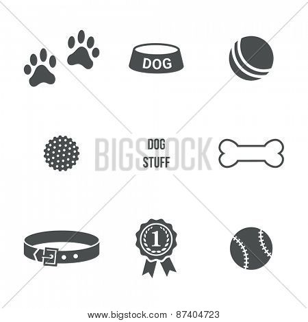 Dog stuff icons set