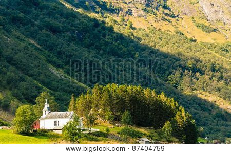 Small Church On Sognefjord On July 23, 2014 In Norway.