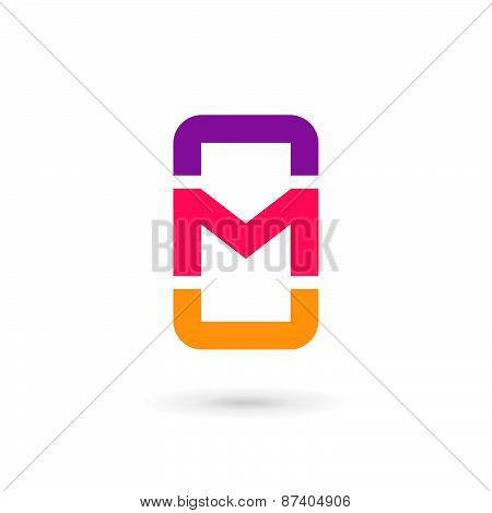Mobile Phone App Letter M Logo Icon Design Template Elements
