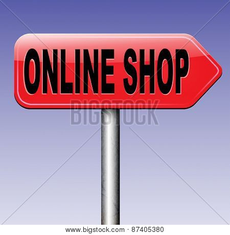 web shop online internet web shop shopping road sign