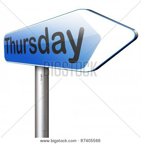 thursday next day calendar concept for appointment program or event