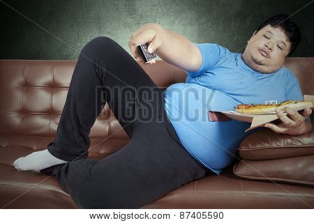 Overweight Man Eats Pizza 2