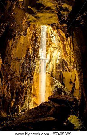 Sun Beam In Cave.
