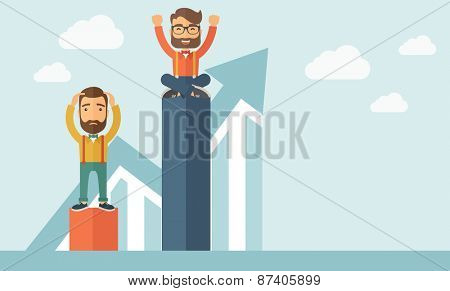 Two hipster Caucasian businessmen with beard. Man on top is happy while sitting and man in bottom is sad while standing. Rivalry concept. A contemporary style with pastel palette soft blue tinted