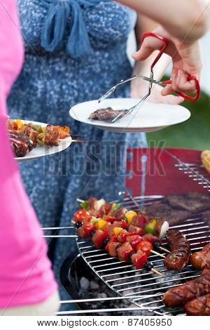 Woman Serving Dinner On Barbecue Party