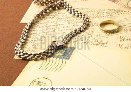 Vintage Postcard And Golden Ring