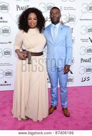 LOS ANGELES - FEB 21:  Oprah Winfrey & David Oleyowo arrives to the 2015 Film Independent Spirit Awards  on February 21, 2015 in Santa Monica, CA
