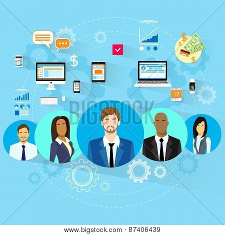 Business People Using Electronic Computer Digital Device Concept