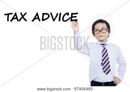 Small Businessman Writes Tax Advice