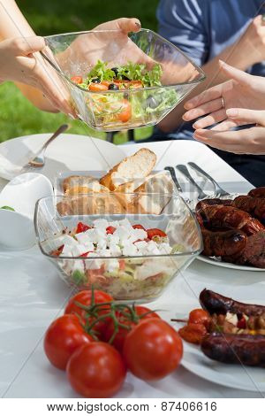 Delicious Salads On Grill Party