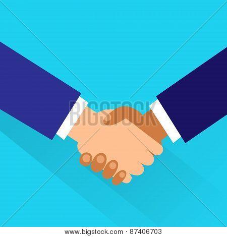 Handshake icon vector business hands shake flat design