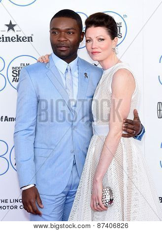 LOS ANGELES - FEB 21:  David Oleyowo & Jessica Oyelowo arrives to the 2015 Film Independent Spirit Awards  on February 21, 2015 in Santa Monica, CA