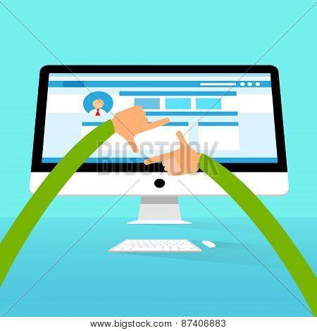 Display Desktop Computer Monitor Workspace, Hands Over Big Screen
