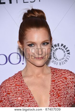 LOS ANGELES - MAR 08:  Darby Stanchfield arrives to the Paleyfest 2015