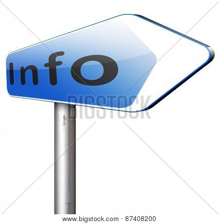 information sign  banner or label to search more details and find online info