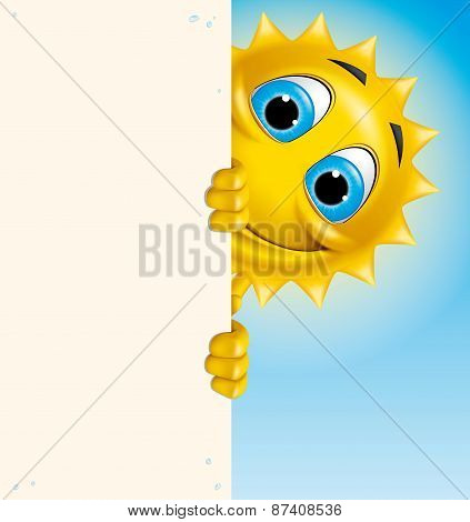 Sun Character Holding A Vertical Banner