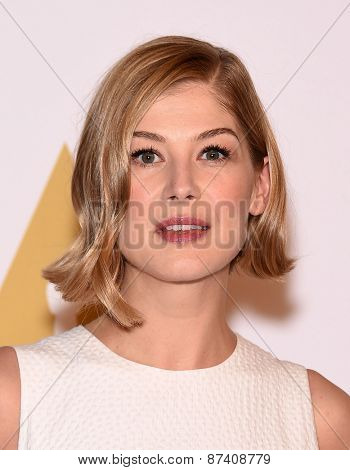 LOS ANGELES - FEB 02:  Rosamund Pike arrives to the Oscar Nominee Reception  on February 2, 2015 in Beverly Hills, CA