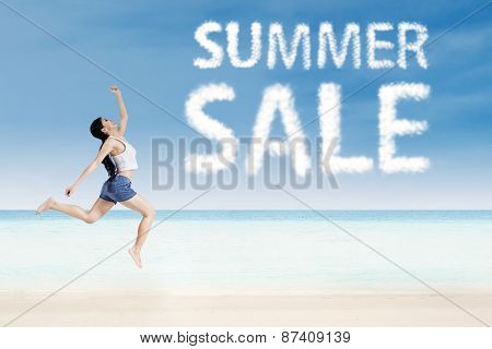 Woman With Summer Sale Clouds