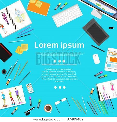 Fashion Designer Creative Workplace Desk with Copy Space Models Photograph Flat Design