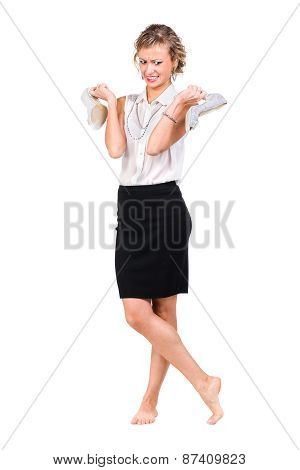 Young professional woman. Caucasian businesswoman isolated on white background