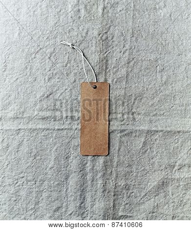 Paper label on a linen cloth
