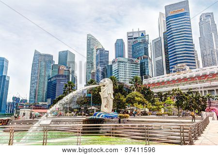 HDR Rendering Of Singapore Merlion Park At Central Business District