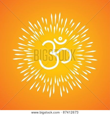 Om Symbol Vector Icon & Sunburst Like Rays Emerging From The Aum Sign