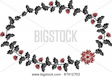 Frame with red and black flowers in the shape of an ellipse