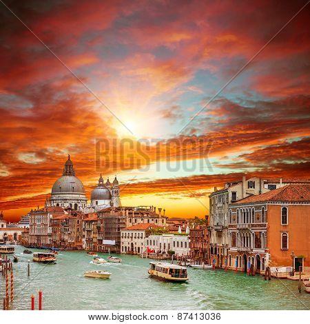 Canal Grande with Basilica di Santa Maria della Salute in Venice