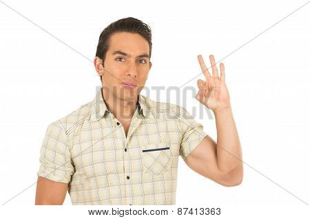 young handsome hispanic man posing gesturing all right