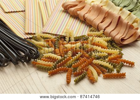 Variety of colorful traditional Italian pasta