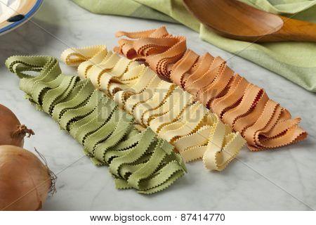 Traditional festive Italian Pasta tricolore