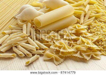 Variety of traditional Italian pasta