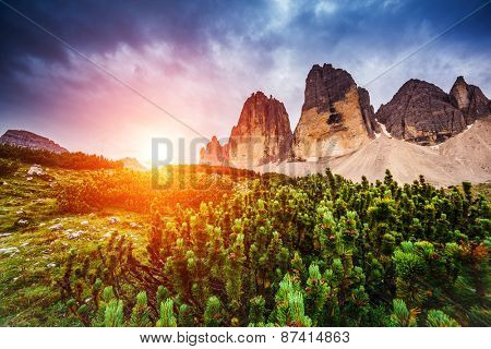 Majestic view of the National Park Tre Cime di Lavaredo with rifugio Locatelli. Dolomites, South Tyrol. Location Auronzo, Italy, Europe. Dramatic scene. Beauty world.